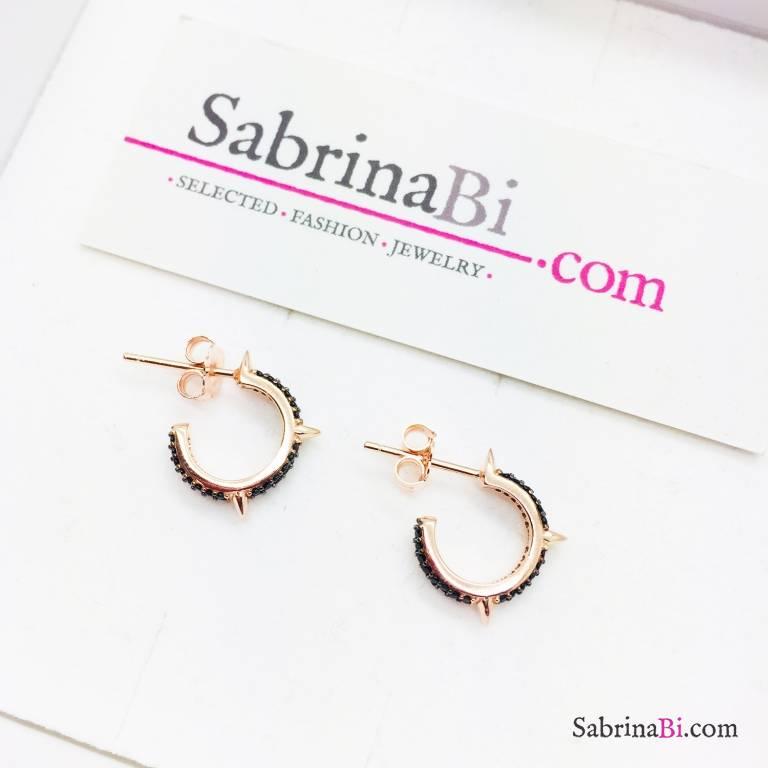 Orecchini mezzo cerchio argento 925 oro rosa Zirconi neri con borchie
