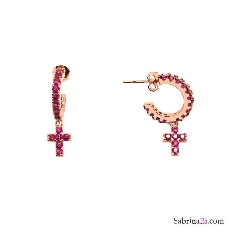 Orecchini mezzo cerchio zirconato argento 925 oro rosa croce Zirconi Rubino