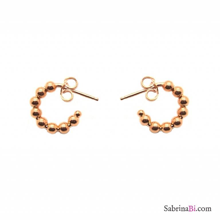 Orecchini mini cerchio argento 925 oro rosa pallinati
