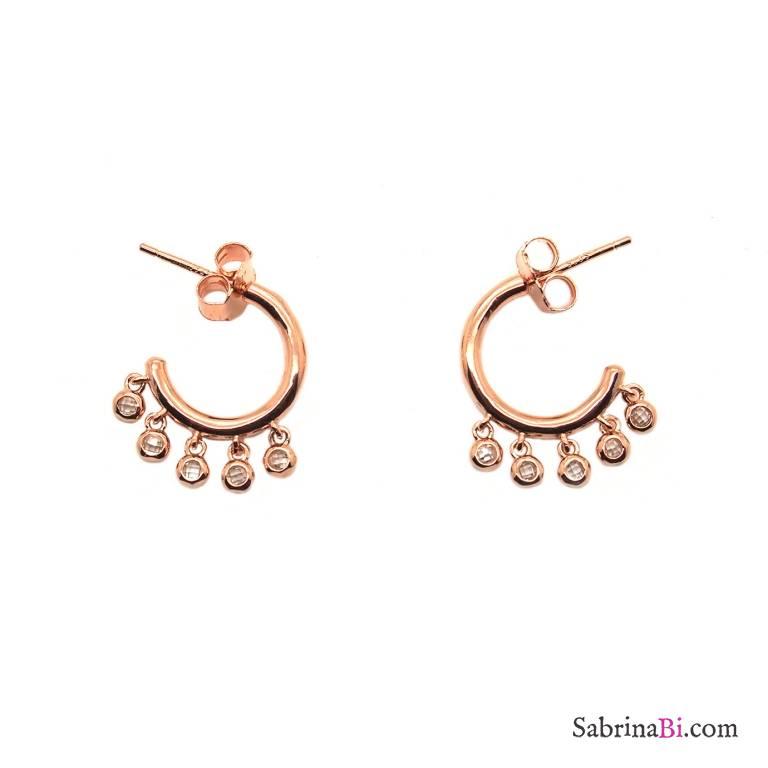 Orecchini mini cerchio argento 925 oro rosa Zirconi pendenti