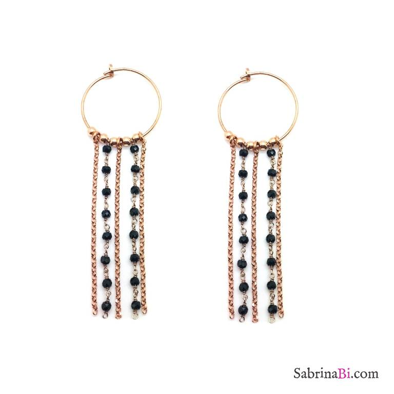 Orecchini pendenti a cerchio argento 925 oro rosa con catene rosario Spinelli neri