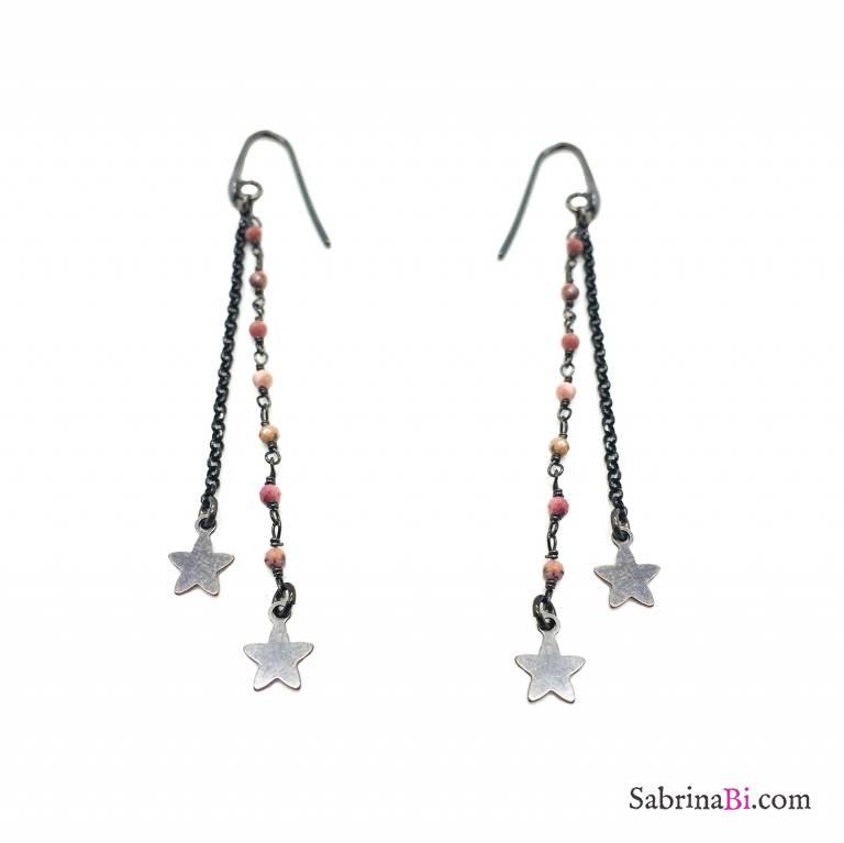 Orecchini pendenti argento 925 catene rodiato nero e rosario pietre rosa Stelle