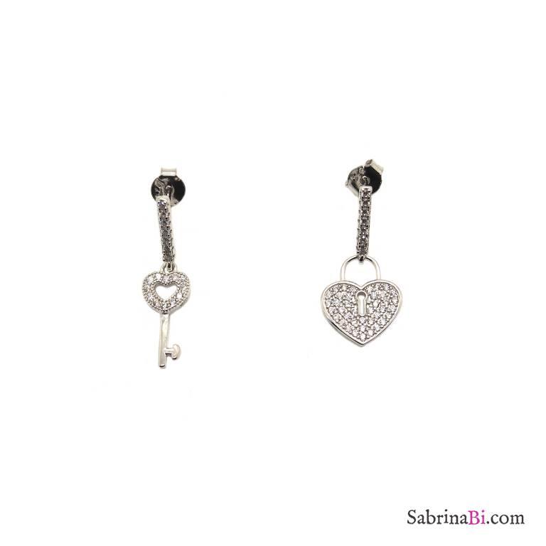 Orecchini pendenti argento 925 Cuore Lucchetto Zirconi