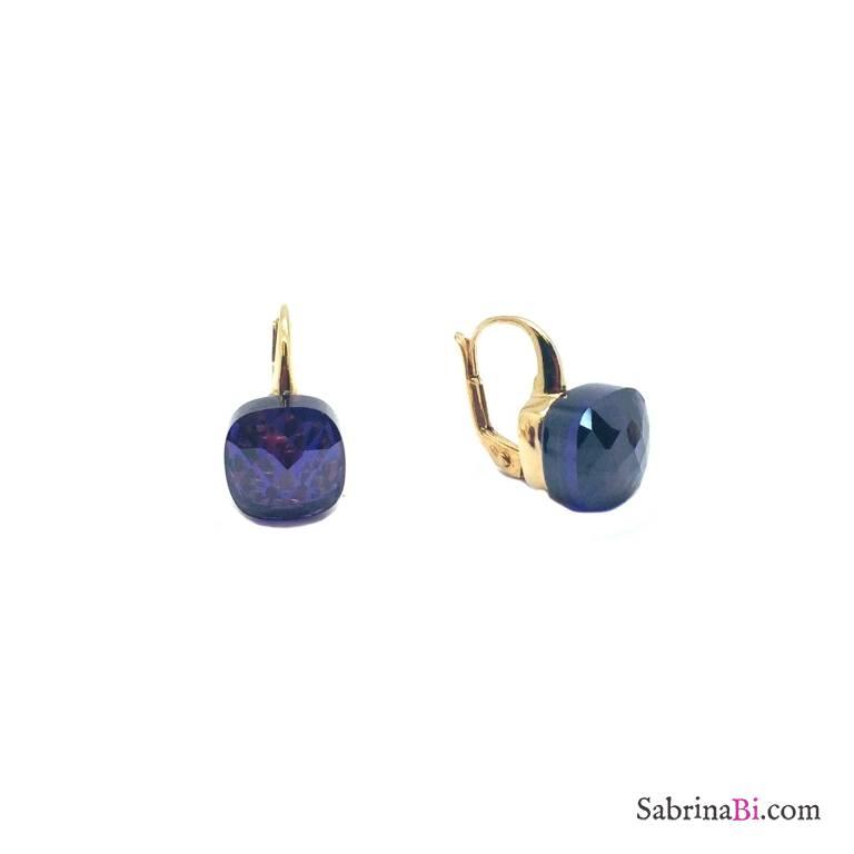 Orecchini pendenti argento 925 oro giallo Tanzanite viola