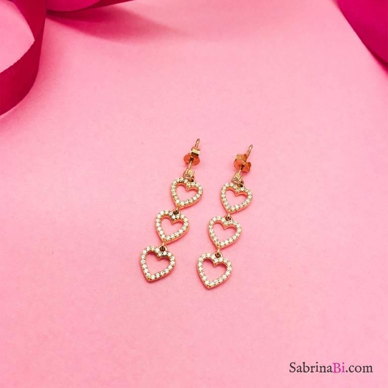 Orecchini pendenti argento 925 oro rosa 3 Cuori