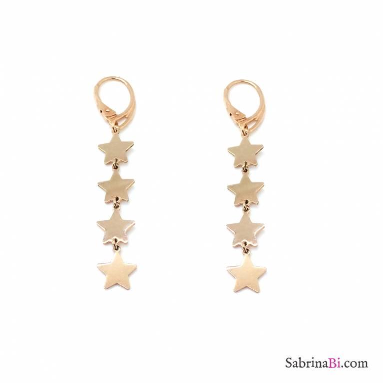 Orecchini pendenti argento 925 oro rosa 4 stelle