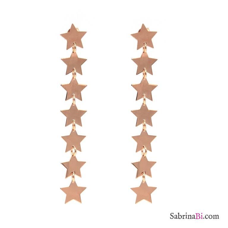 Orecchini pendenti argento 925 oro rosa 7 stelle
