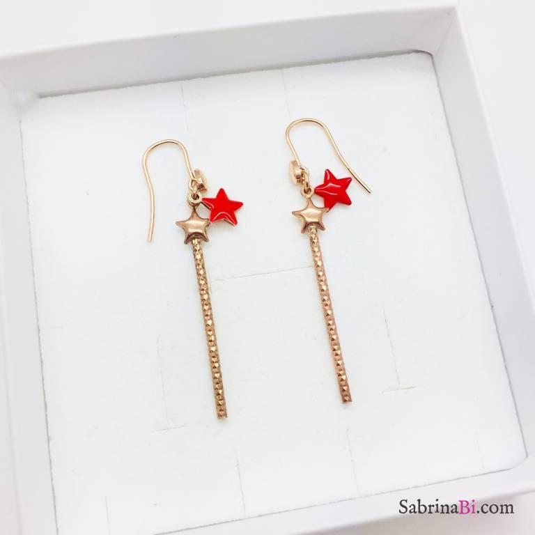 Orecchini pendenti argento 925 oro rosa bacchetta magica e stella rossa