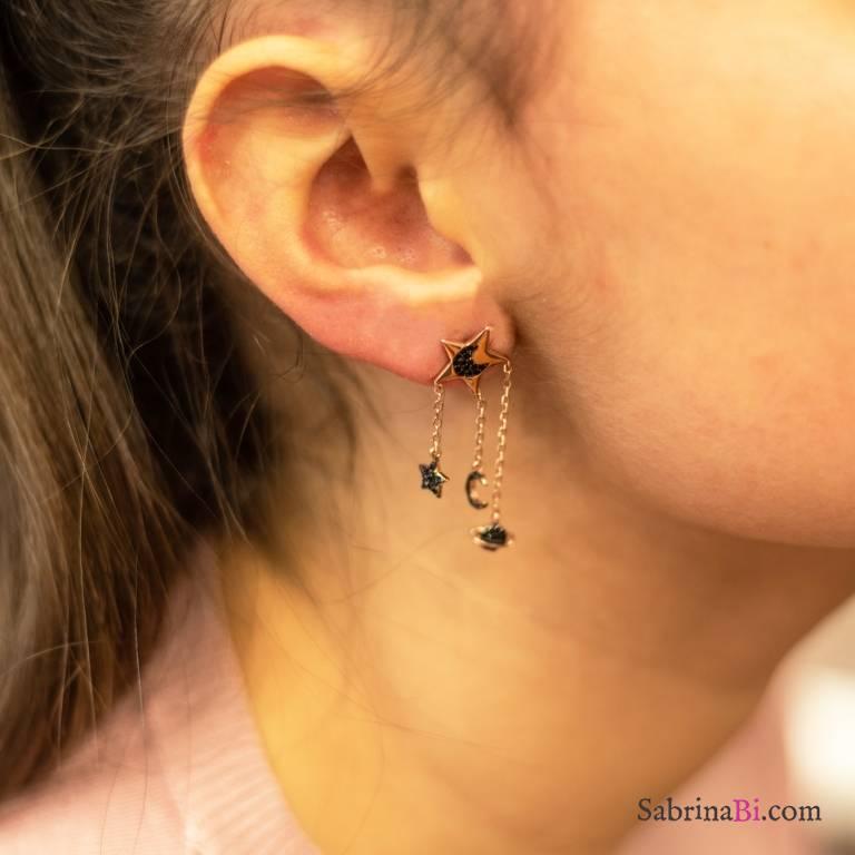 Orecchini pendenti argento 925 oro rosa catenelle stella e luna Zirconi neri
