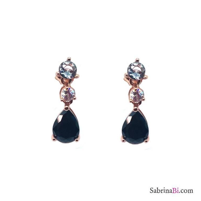 Orecchini pendenti argento 925 oro rosa con Zircone nero a goccia