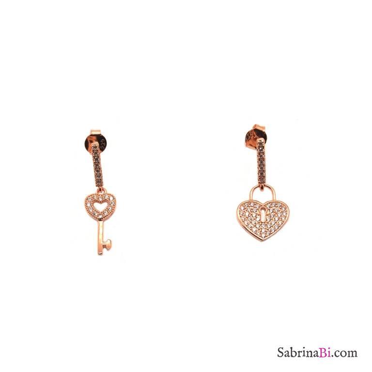 Orecchini pendenti argento 925 oro rosa Cuore Lucchetto Zirconi