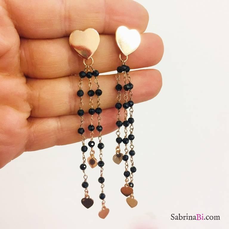 Orecchini pendenti argento 925 oro rosa fili rosario nero con cuori