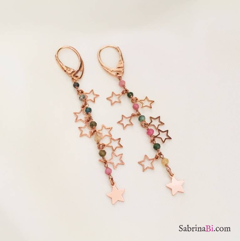 Orecchini pendenti argento 925 oro rosa Justine multicolor