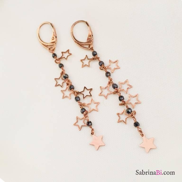 Orecchini pendenti argento 925 oro rosa Justine