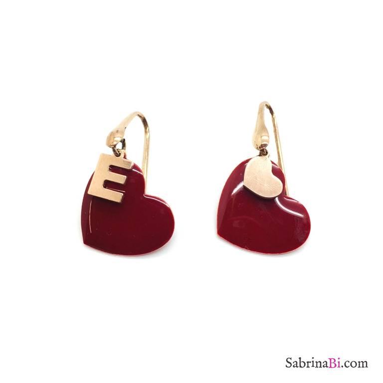 Orecchini pendenti argento 925 oro rosa maxi cuore rosso e lettera iniziale nome