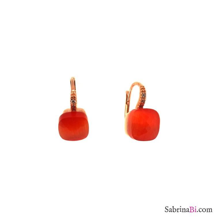 Orecchini pendenti argento 925 oro rosa Opale arancione