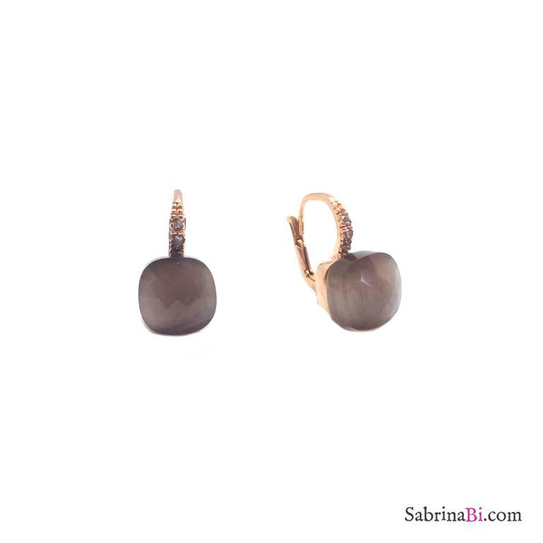 Orecchini pendenti argento 925 oro rosa Quarzo fumè