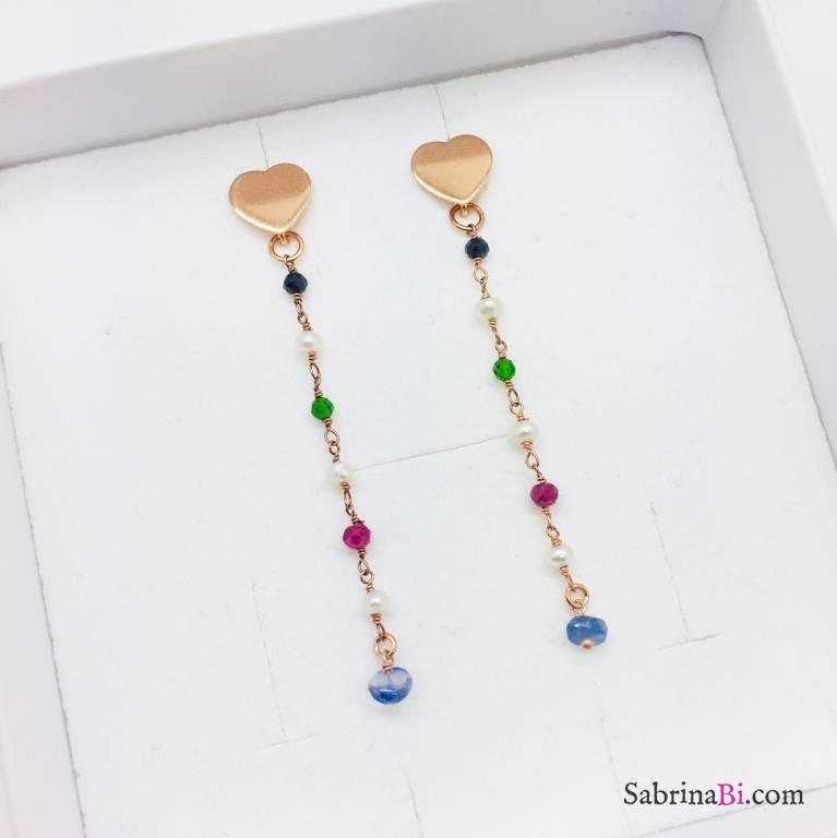 Orecchini pendenti argento 925 oro rosa rosario colorato cuori