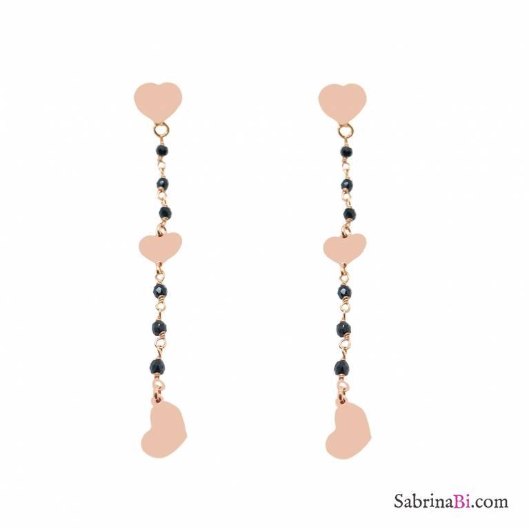 Orecchini pendenti argento 925 oro rosa rosario nero 3 Cuori