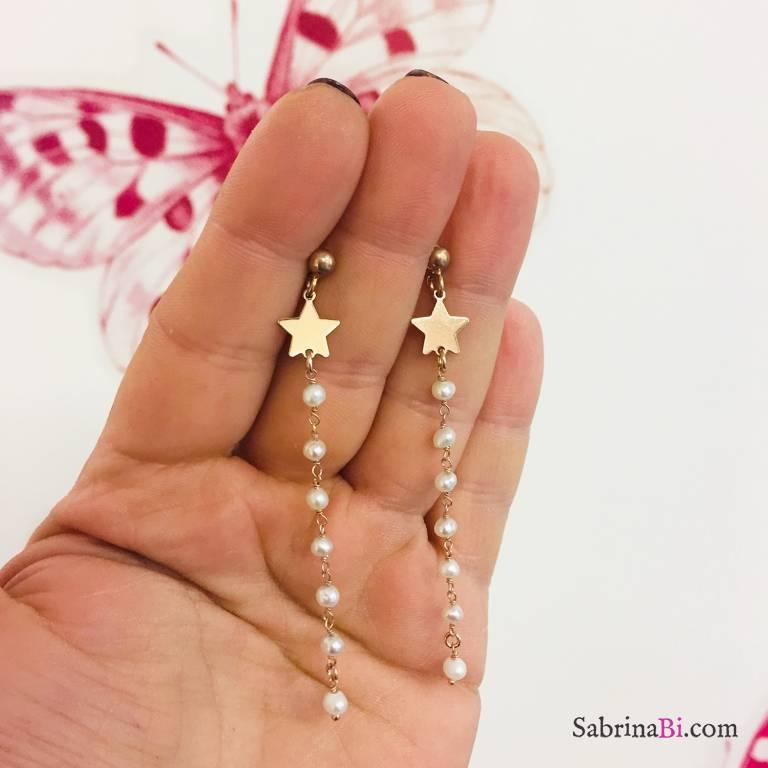 Orecchini pendenti argento 925 oro rosa rosario perle e stella