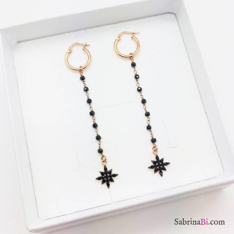 Orecchini pendenti argento 925 oro rosa rosario Spinelli neri Stella polare