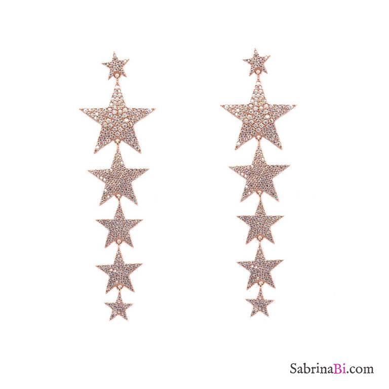 Orecchini pendenti argento 925 oro rosa stelle grandi brillanti