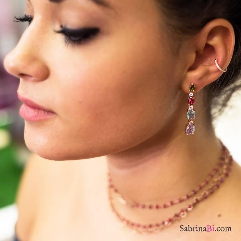 Orecchini pendenti argento 925 oro rosa Zirconi multicolor