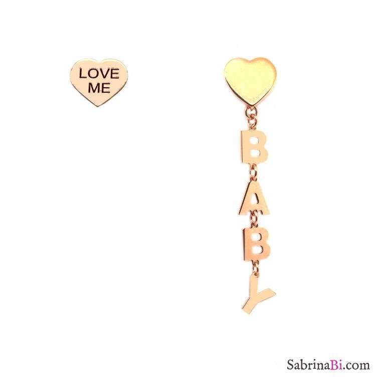 Orecchini pendenti asimmetrici argento 925 oro rosa Baby Love me