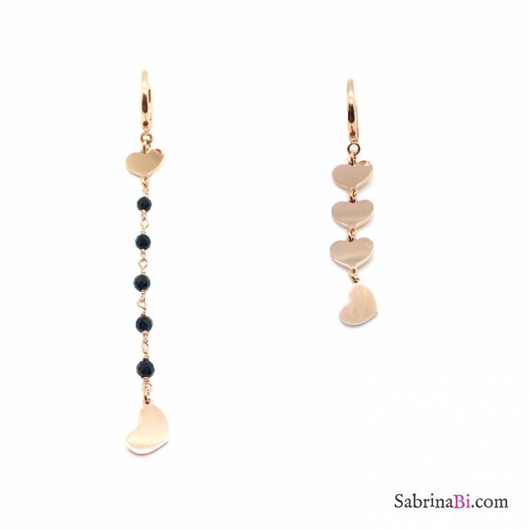 Orecchini pendenti asimmetrici argento 925 oro rosa rosario nero e cuori