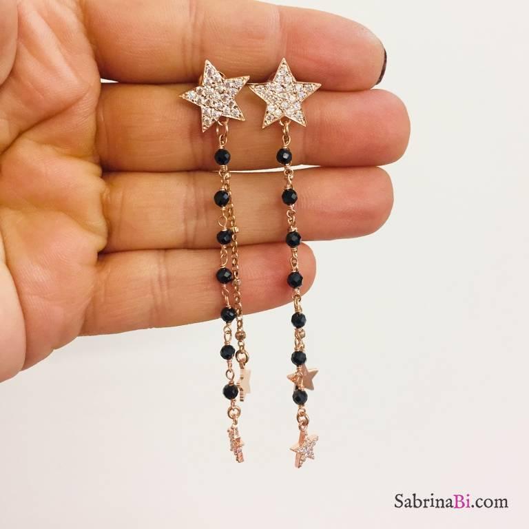 Orecchini pendenti catena argento 925 oro rosa e rosario nero stelle Zirconi