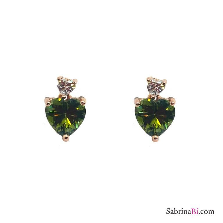 Orecchini pendenti corti argento 925 oro rosa cuore Zircone verde