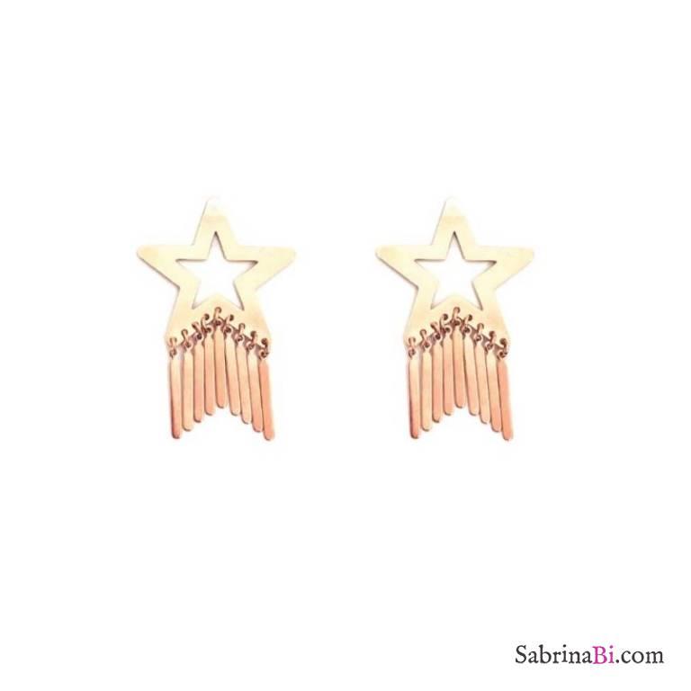 Orecchini pendenti Fringe stella a lobo oro rosa