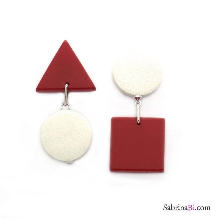 Orecchini pendenti geometrici optical legno rosso