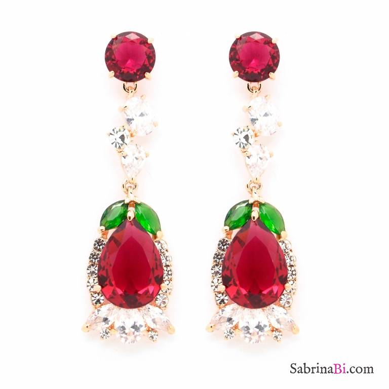 fb1647c28176c Burgundy Swarovski crystals drop earrings