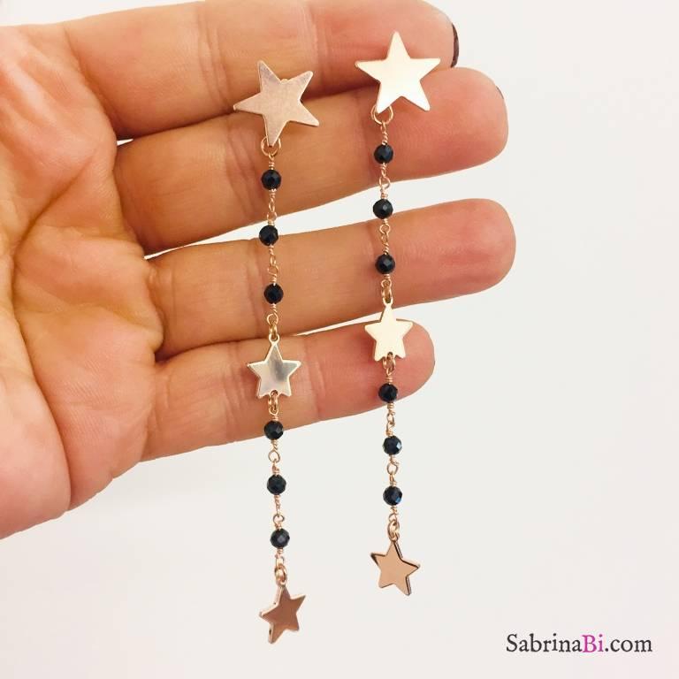 Orecchini pendenti lunghi argento 925 oro rosa rosario nero 3 Stelle
