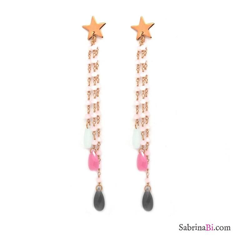 Orecchini pendenti lunghi argento 925 oro rosa rosario stella