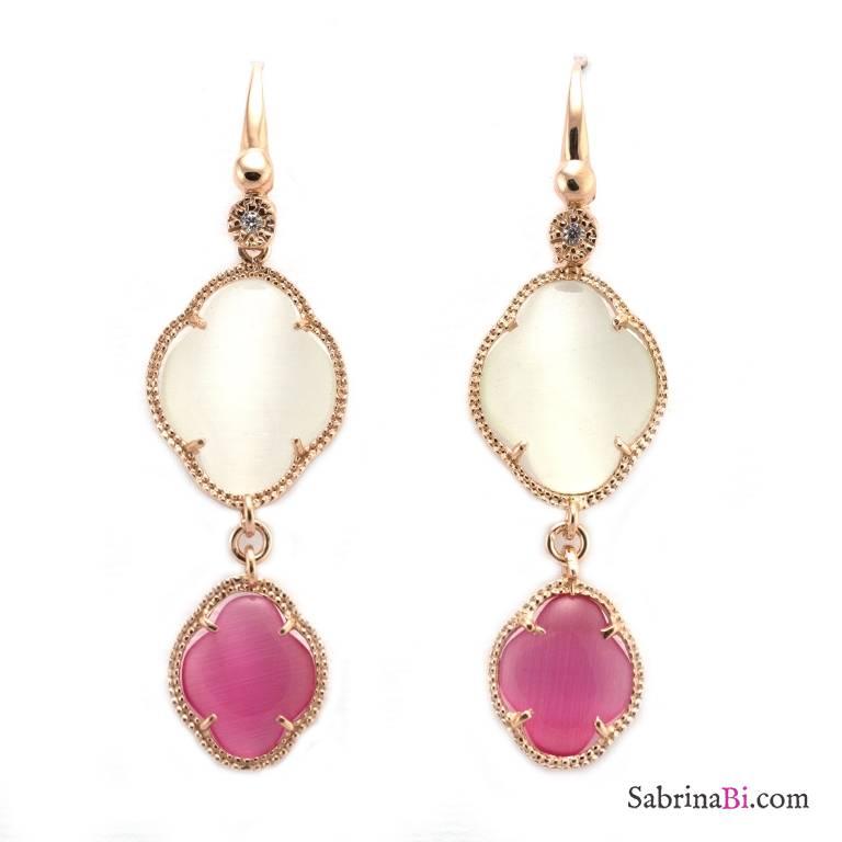 orecchini rosa pandora donna