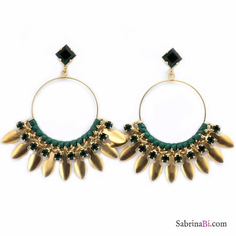 Orecchini pendenti oro a cerchio cristalli Swarovski verdi