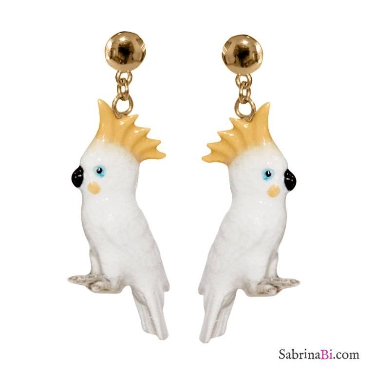 Orecchini pendenti oro Pappagalli Cacatua bianchi porcellana