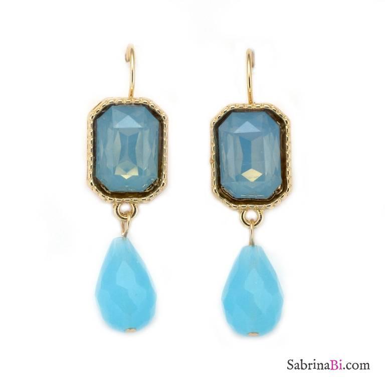 Orecchini pendenti pietre e perle a goccia azzurre Serenity