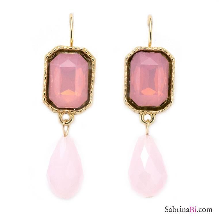 Orecchini pendenti pietre e perle a goccia rosa Quarzo