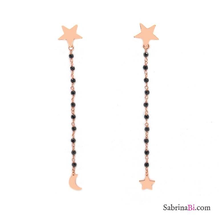 Orecchini pendenti rosario argento 925 oro rosa Spinelli neri Luna e Stella