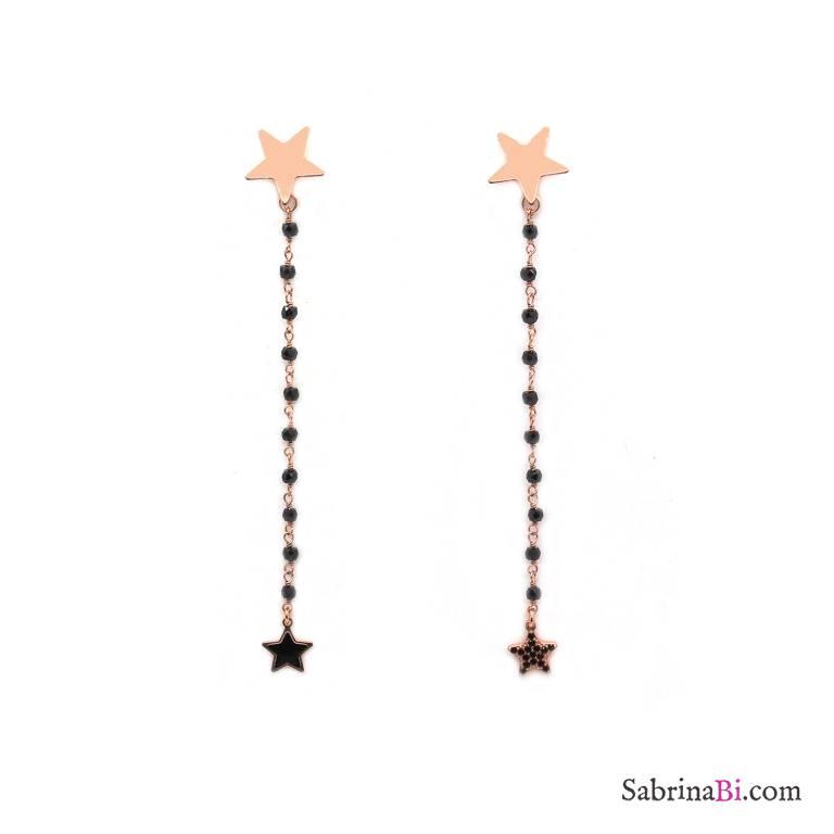 Orecchini pendenti rosario argento 925 oro rosa Spinelli neri Stelle nere