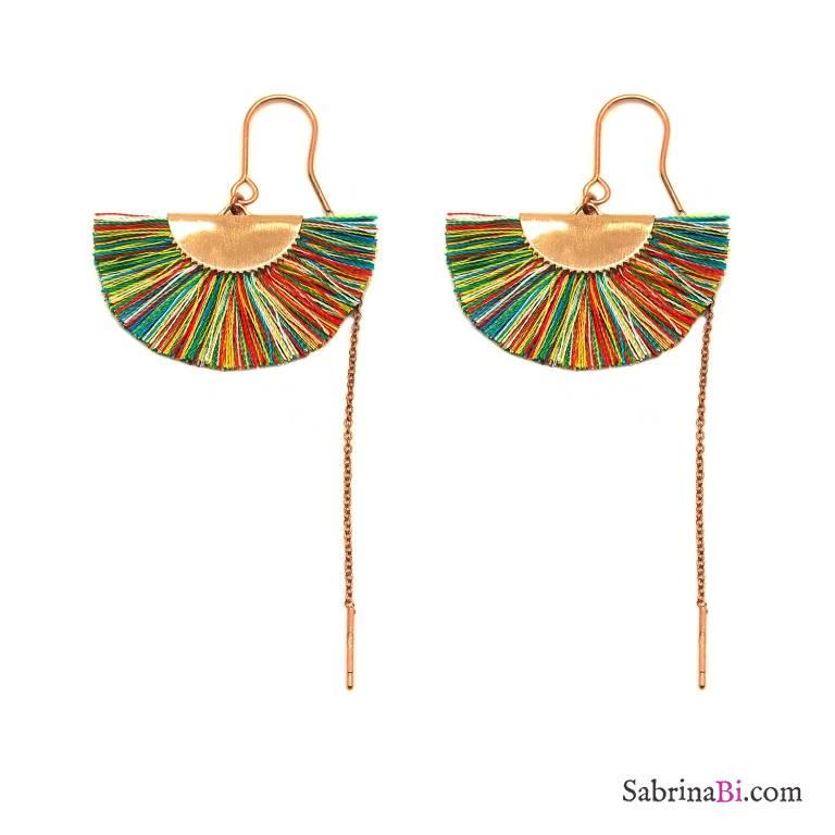 Orecchini thread a filo argento 925 oro rosa nappina multicolor