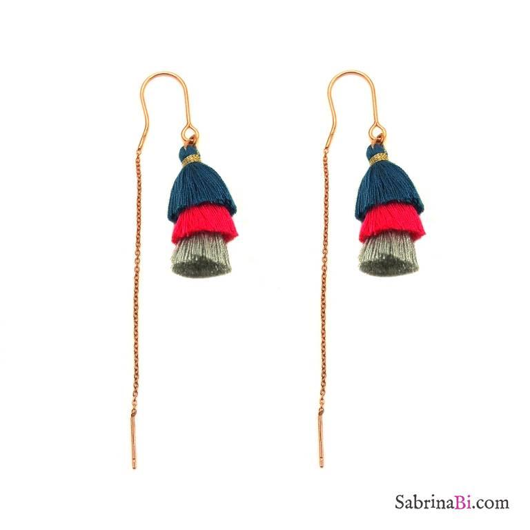 Orecchini thread a filo argento 925 oro rosa nappina tripla