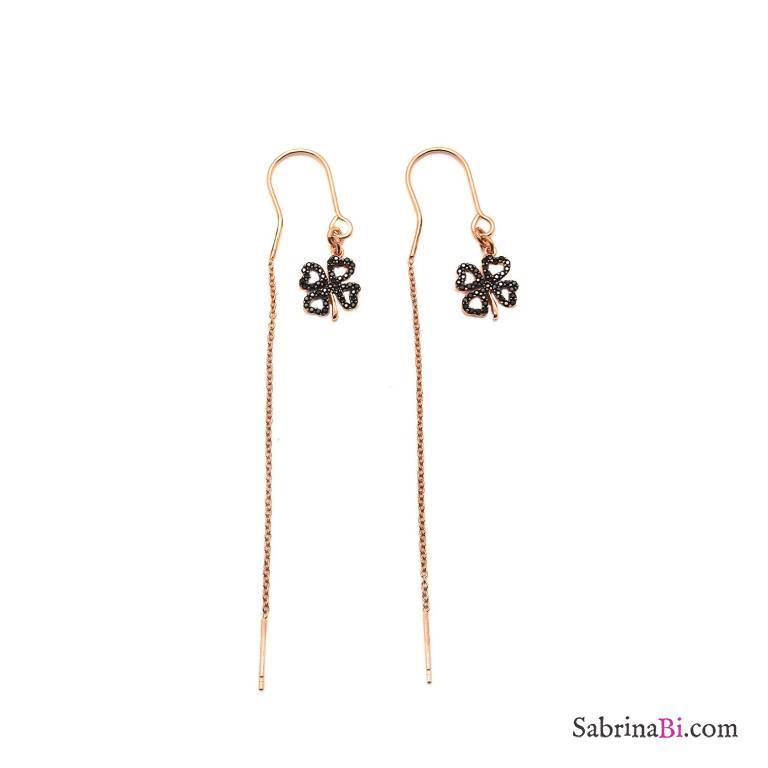 Orecchini thread a filo argento 925 oro rosa pendenti Quadrifoglio Zirconi neri