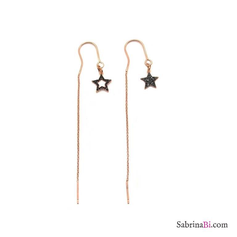 Orecchini thread a filo argento 925 oro rosa pendenti Stelle Zirconi neri