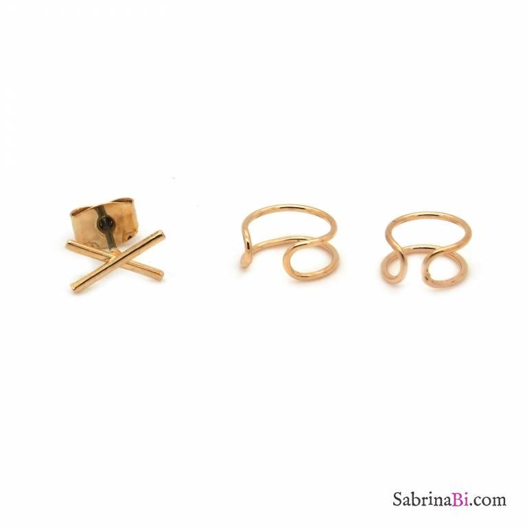 Set da 3 ear cuff placcati oro
