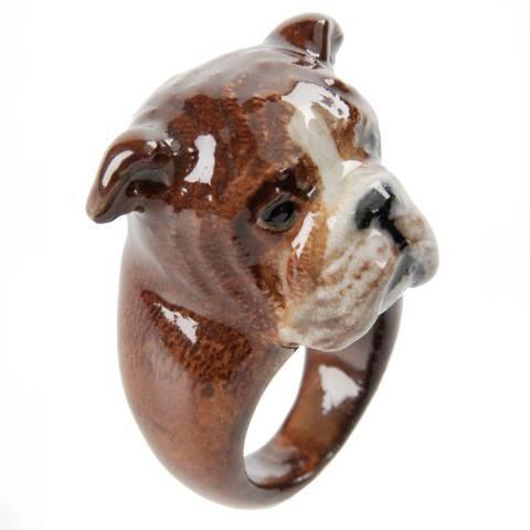 Anello in porcellana cane Bulldog Inglese tg. M