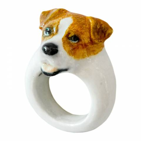 Anello in porcellana cane Jack Russell Tg. L